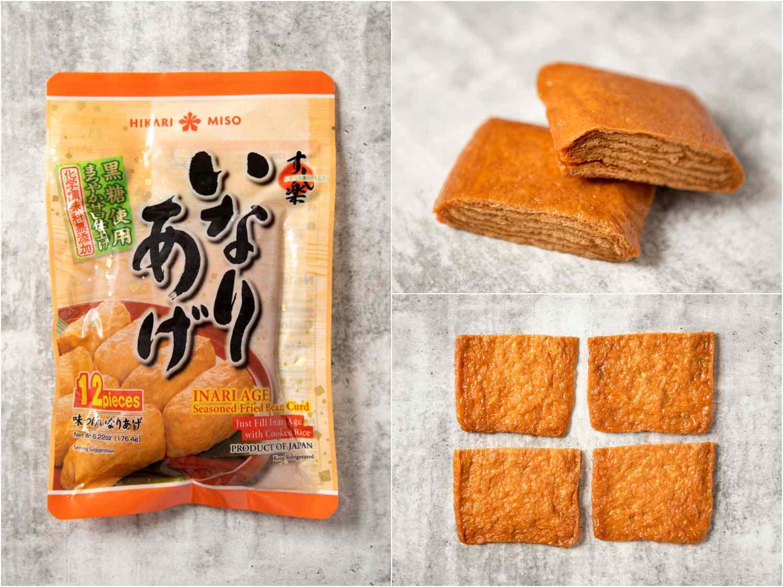 collage: inari tofu in packaging; unpackaged