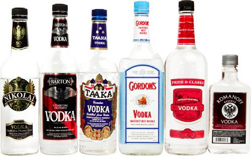 Six assorted vodka bottles against a white background.
