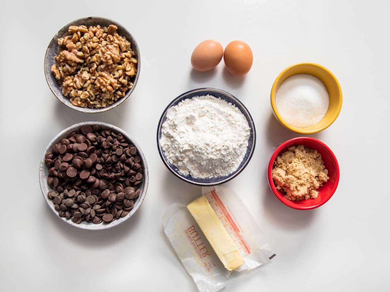 Ingredients for Levain Bakery-style super thick chocolate chip cookies.