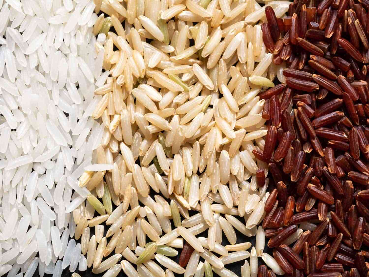polished, brown, and red jasmine rice comparison shot