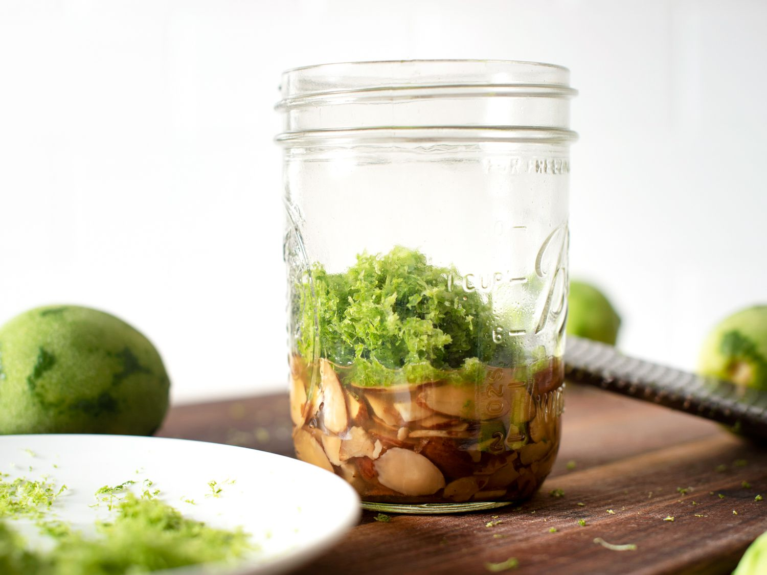 lime zest added to jar after 2 days of steeping