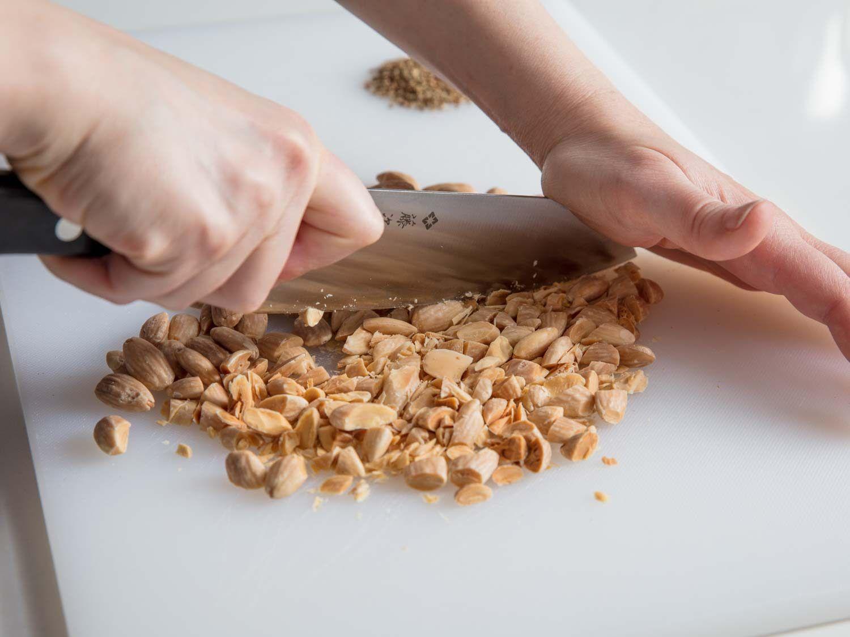 chopping almonds
