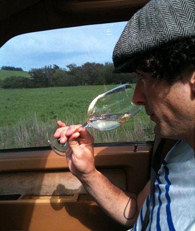sommelier smelling white wine
