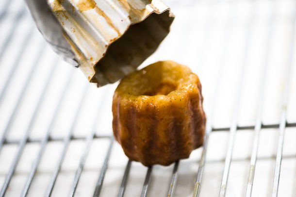 baked canelé, removed from mold