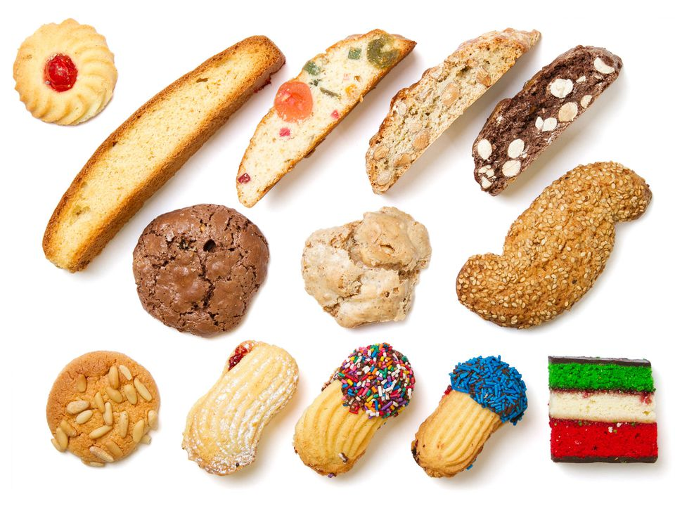 An assortment of cookies typically found in an Italian bakery.