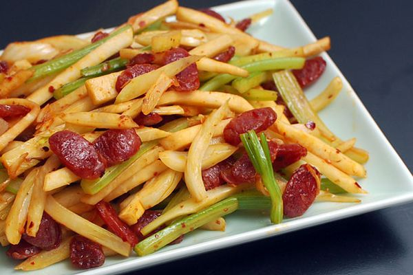 Spicy Stir-Fried Fennel, Celery, and Celery Root With Chinese Sausage