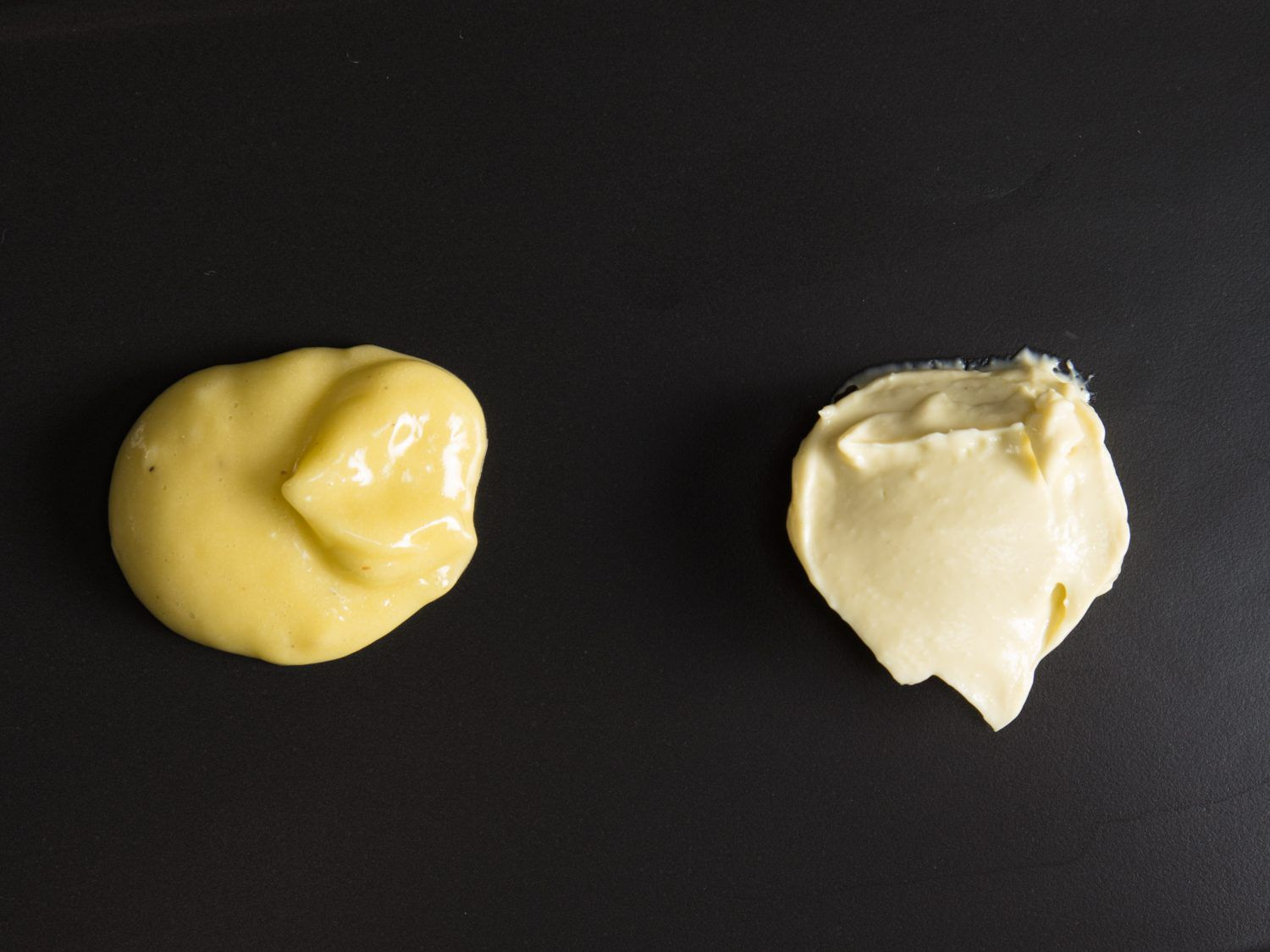 hand-whisked mayonnaise and blended mayonnaise