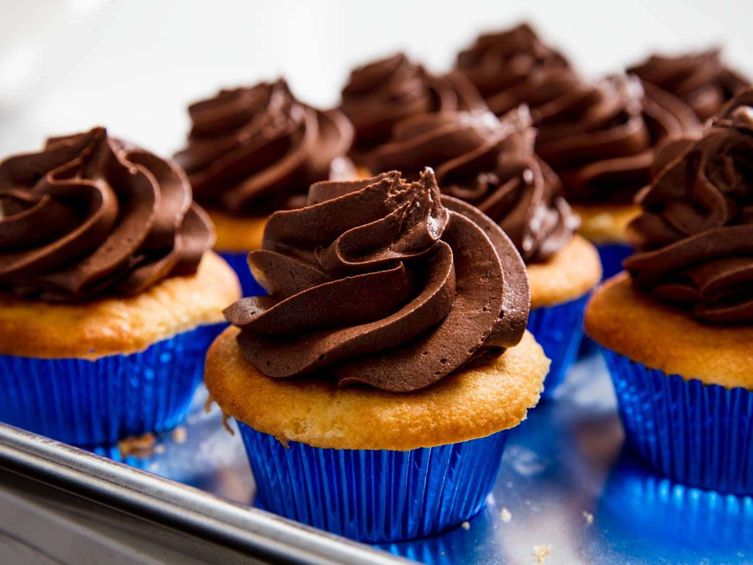 cupcakes with a swirl of American-style chocolate buttercream