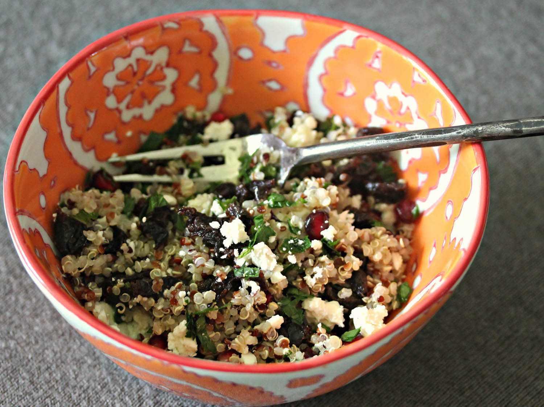 Quinoa Salad With Dried Tart Cherries, Mint, and Feta in Lemon-Sumac Vinaigrette