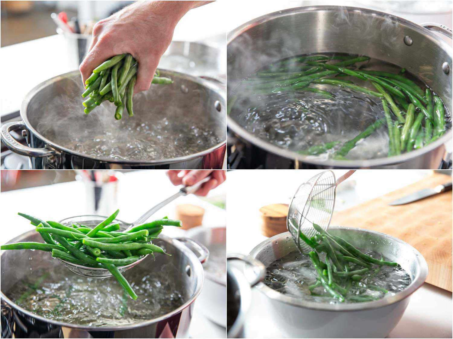 Photo collage of blanching green beans in boiling water and then shocking them in an ice bath.