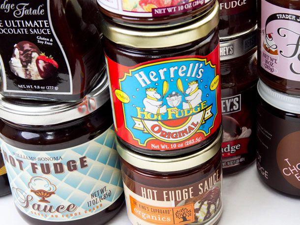 Jars of different brands of hot fudge sauces