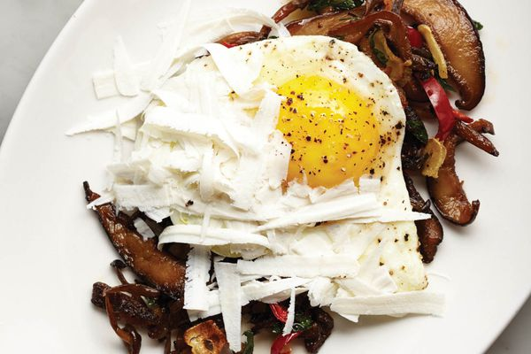 bacon, eggs, and roasted mushrooms