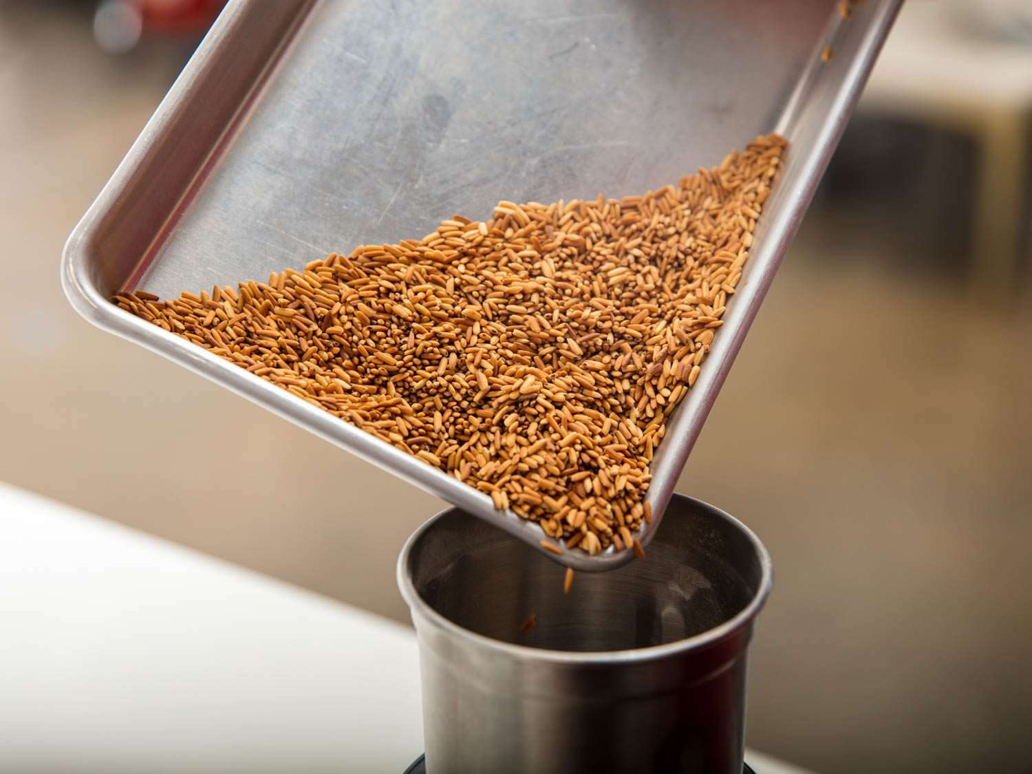 Transferring toasted rice to a spice grinder.