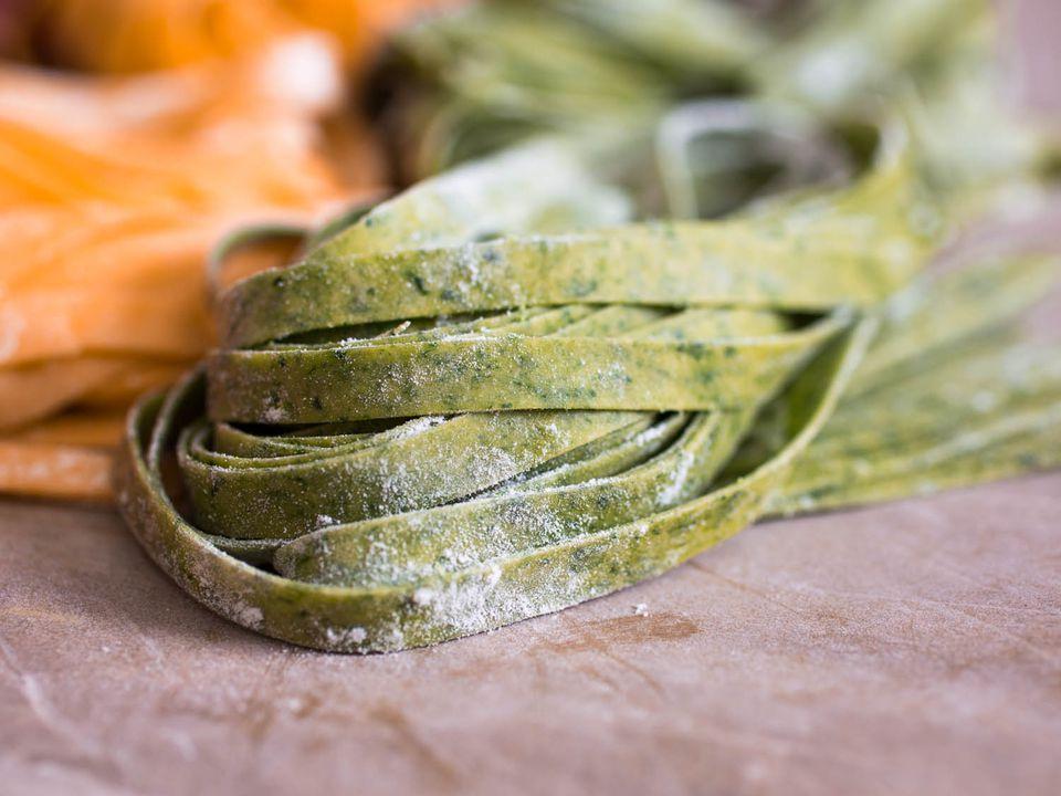 spinach-colored pasta