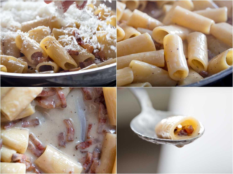 Adding Pecorino Romano cheese to finish sauce for pasta alla gricia