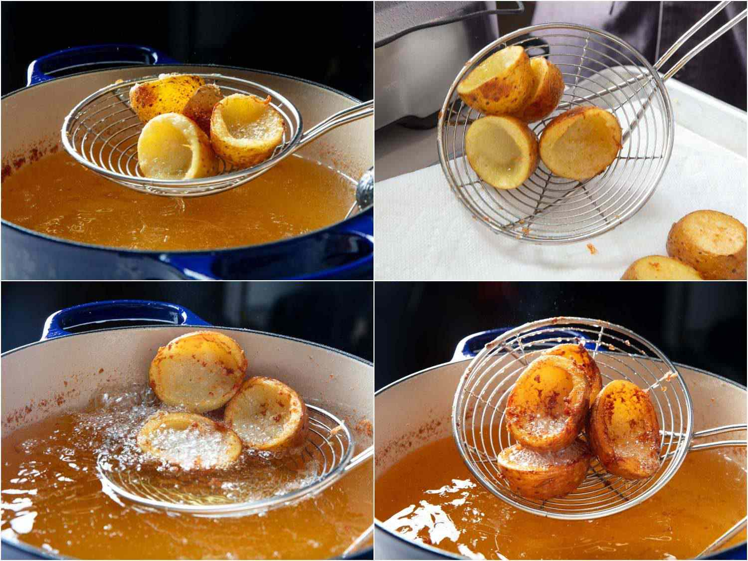 Deep-frying the potato-skin cups in two stages, first for just a minute, the second time until deeply browned and crispy all over