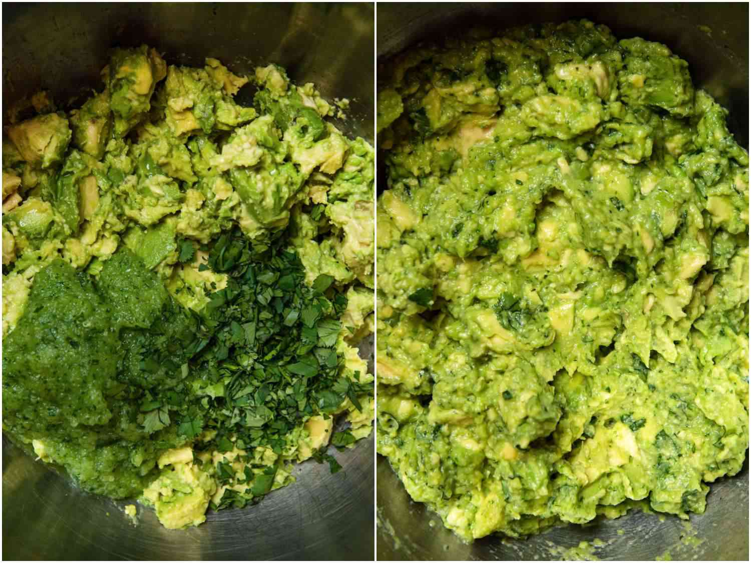 Split Side by side images of rough mashed avocado with chopped cilantro and mixed guacamole