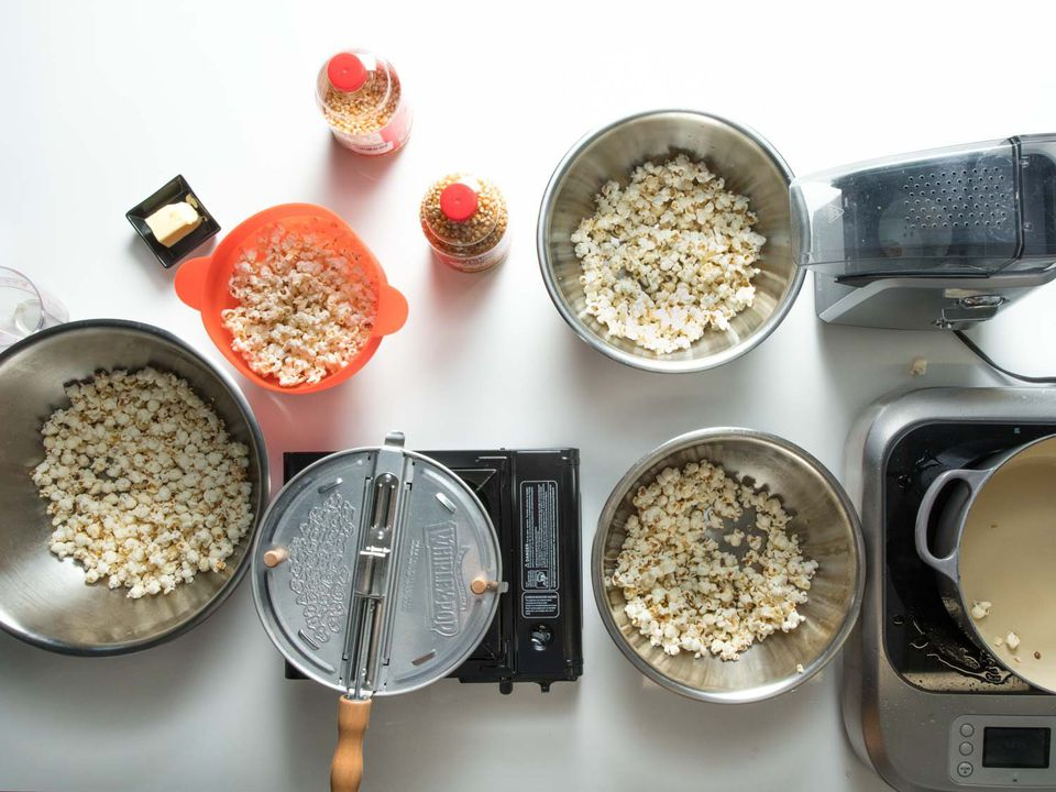 Popcorn being made with different methods