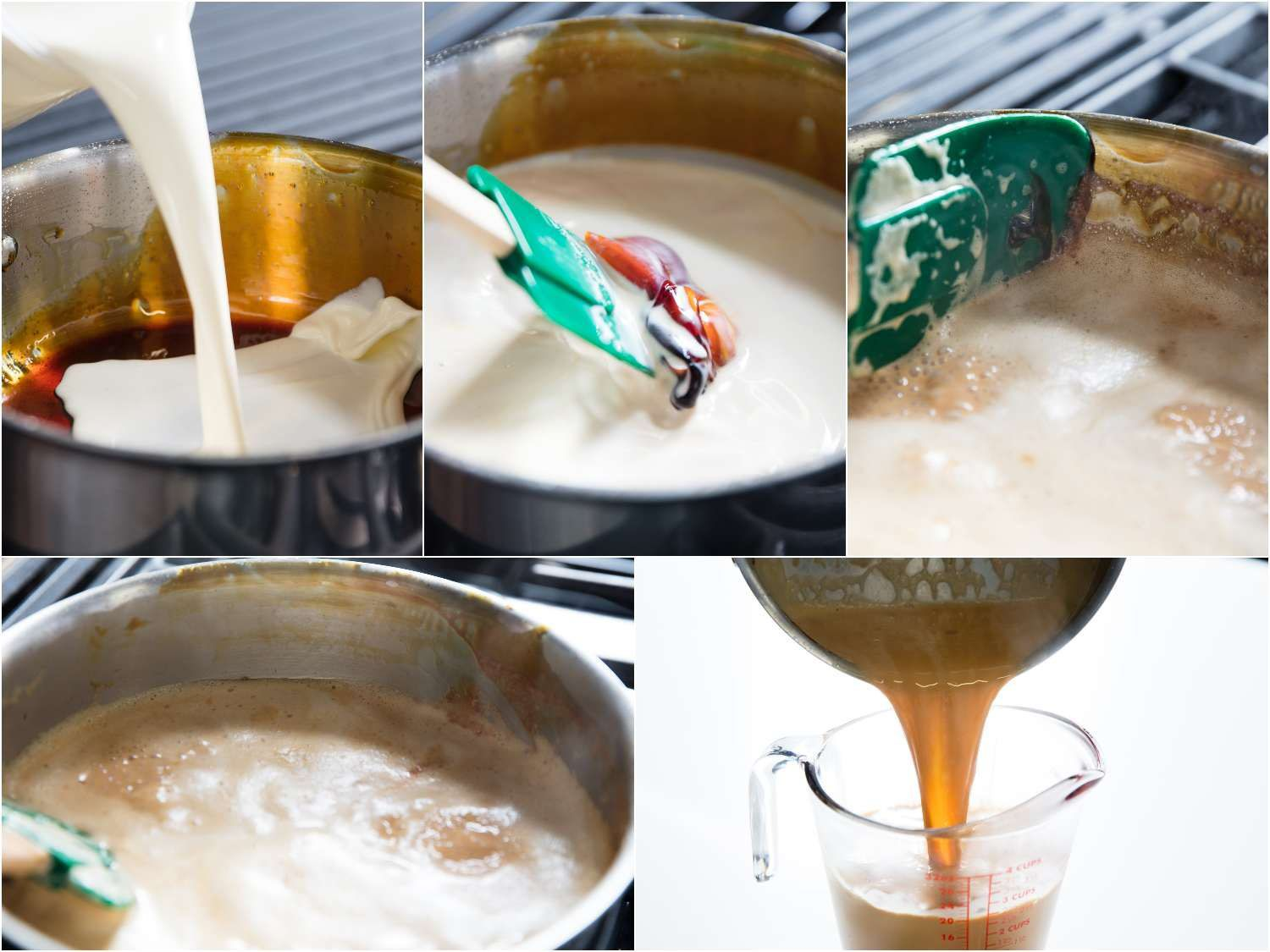 cleaning a pot of caramel for reuse