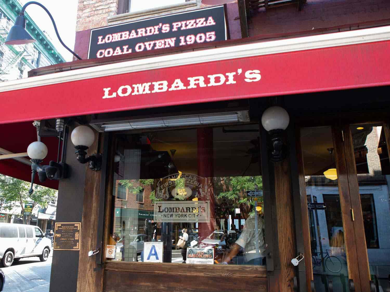 Exterior of Lombardi's Pizzeria in Soho, NY.