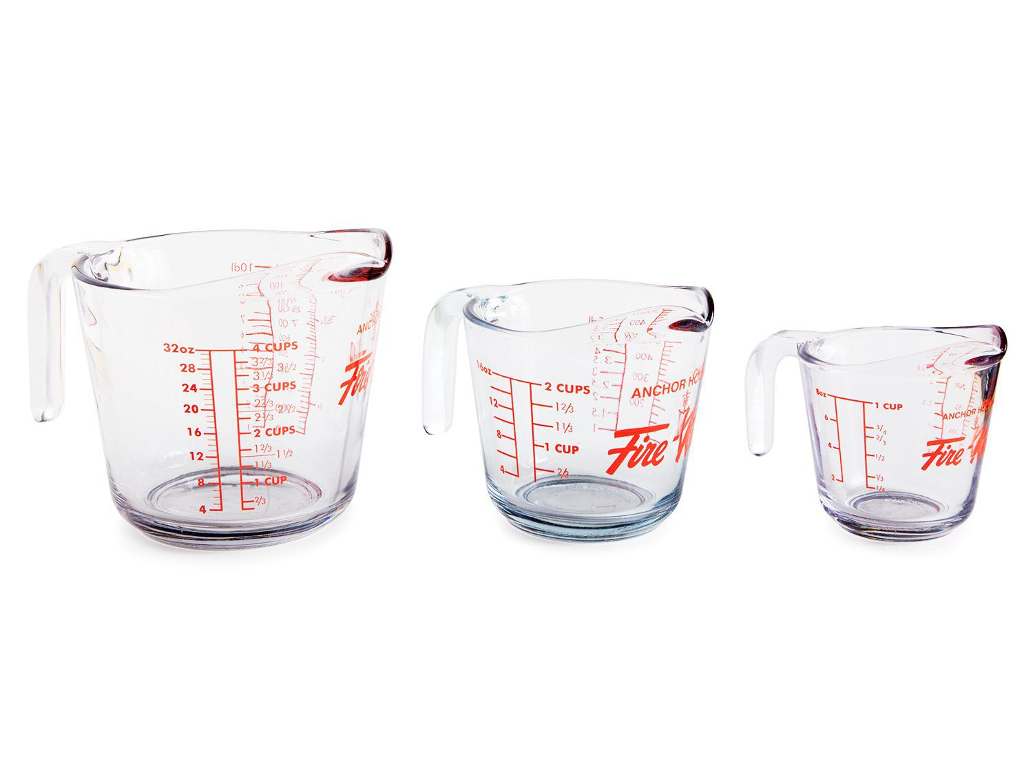 Three measuring cups of varying sizes are lined up.