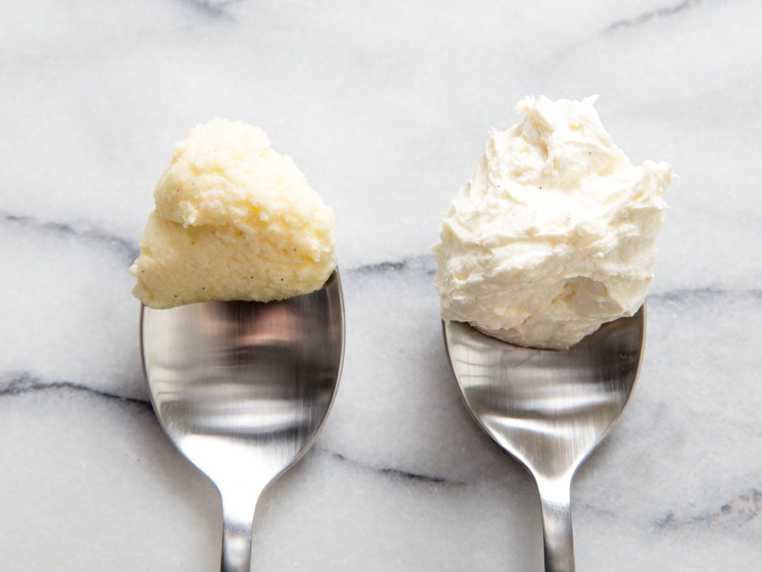 A spoonful of dense, cold buttercream (left) and a spoonful of light buttercream at the proper temperature (right)