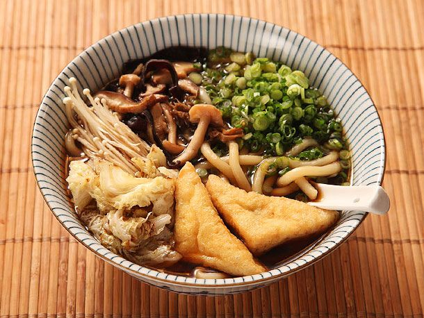 Udon with Mushroom-Soy Broth with Stir-Fried Mushrooms and Cabbage