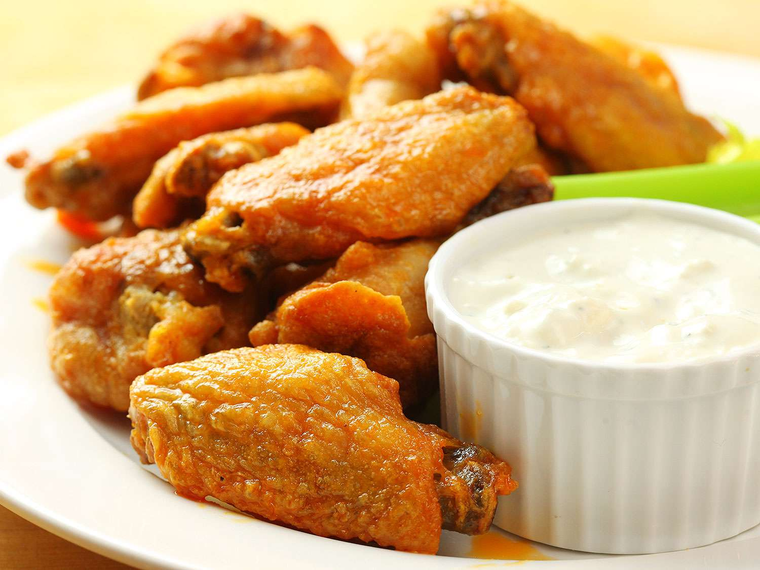 Baked buffalo wings with dipping sauce