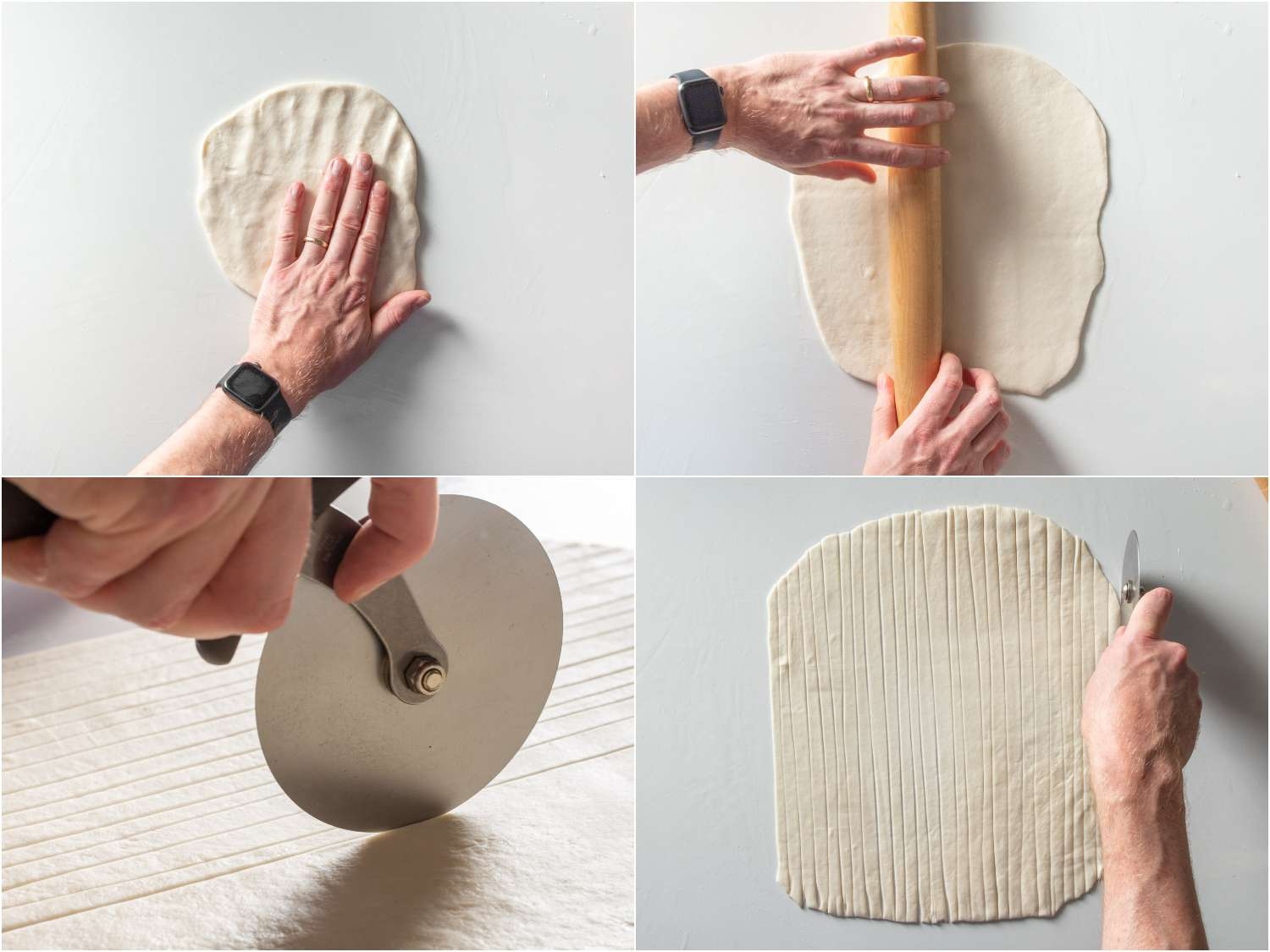 Pressing and rolling out the dough, then cutting it into strips