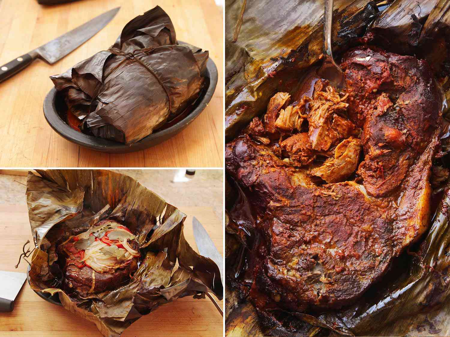 A collage of cochinita pibil recipe photos including cooked in the banana leaf, and opening it up.