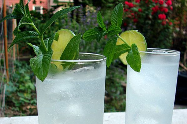 Two cocktails outside, garnished with mint and lime slice.
