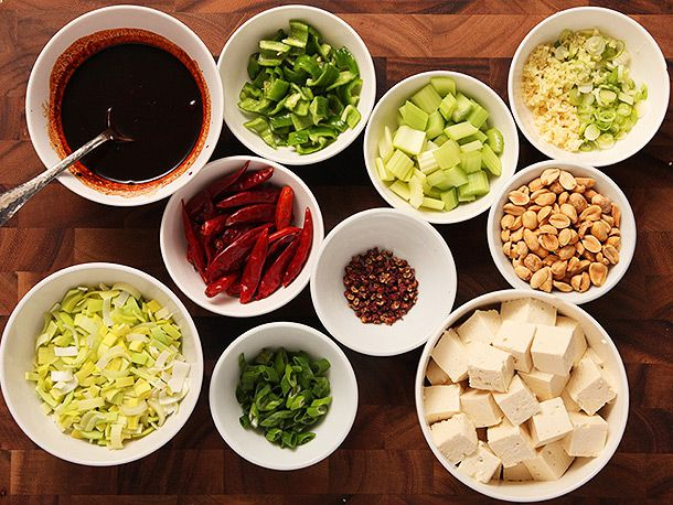 Bowls of ingredients for crispy kung pao tofu.